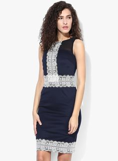 57556c4f76 Buy DOROTHY PERKINS Navy Blue And Cream Lace Pencil Online - 3226133 -  Jabong
