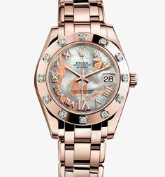 Rolex Datejust Special Edition Watch: 18 ct Everose gold, mother-of-pearl and diamonds