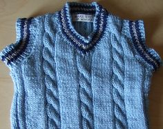 Hand knitted Baby / Toddler Boys Blue V neck cable tank top / slipover / waistcoat  (To fit approx. 1-2 years)