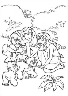 Tarzan Jane And Little Monkies Coloring Pages For Kids Printable Free
