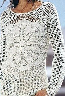 crochet top - interesting idea - could use any doily pattern as the center