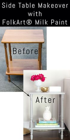 Side Table Makeover with FolkArt Milk Paint - Erin Spain