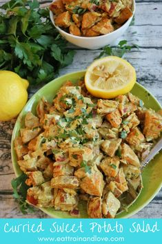 This curried sweet potato salad makes the perfect side dish for your summer time parties, or is a delicious healthy side dish to meal prep and enjoy all week! It is packed with nutrients, fiber and delicious healthy flavors that you won't be able to get enough of. Healthy side dishes | vegetarian recipes | clean eating | meal prep | potato salad | curry potato salad | sweet potato salad | paleo recipes | #potatosalad #vegetarianrecipes #veggierecipes #healthysidedishes