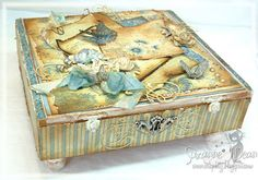 altered cigar box into a shabby chic letter box by Suzanne J Dean of Scrap