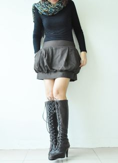 SALE 15 Tulip Dark Brown Cotton Skirt 3 Sizes by aftershowershop