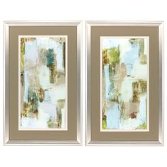 Taupe and Citron 2 Piece Framed Painting Print Set