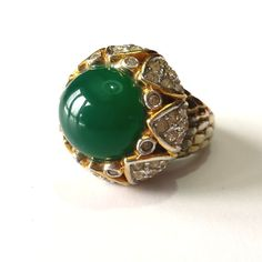 Vintage cocktail ring. Sterling and emerald