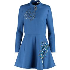 J.W.Anderson Embellished wool-felt mini dress (27.655 RUB) ❤ liked on Polyvore featuring dresses, blue, beaded dress, short loose dresses, loose fitting dresses, loose dresses and mini dress
