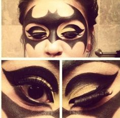 Batman Make Up – Halloween at work! from – Halloween Costumes Maquillage Halloween Clown, Yeux Halloween, Halloween Looks, Halloween Cosplay, Halloween Diy, Halloween Costumes, Halloween Face Makeup, Batman Halloween, Cosplay Costumes