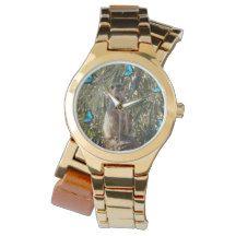 Blue_Butterfly_Meerkat_Ladies_Gold_Wrap_Watch. Wristwatches