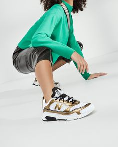 In autumn, the designers are going one step further and transform sneakers in vintage design with metallic applications and unconventional colour combinations into expressive statements. Colour Combinations, Vintage Designs, New Balance, Campaign, Designers, Metallic, Autumn, Sneakers, Clothes
