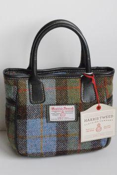 Mull Harris Tweed handbag in lovat tartan with leather trim