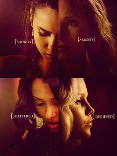 Elena Gilbert x Caroline Forbes x Bonnie Bennett x Rebekah - Nina Dobrev x Candice Accola x Kat Graham x Claire Holt. Pinterest:@jordanlanai