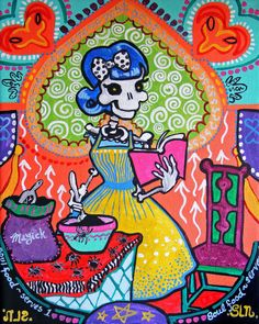 Mexican Folk Art Print. Kitchen Catrina Baker. Rockabilly Pinup Poster. Original Day of the Dead Art. Colorful kitchen wall decor. Skeleton