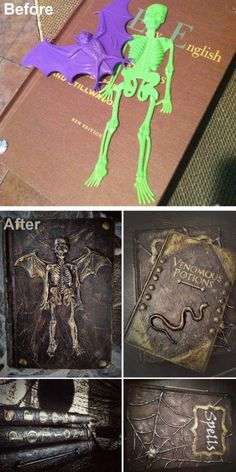 DIY Spell and Potion Book Tutorial from Better After.This is a really good tutorialusing plastic toys, a glue gun, cardstock, paper towels etc… This DIY is based on a tutorial by SEEING THINGS- my favorite Halloween Blog that had great printables and tutorials and is now DEAD & GONE. This is why if I see a printable I like, I don't wait until later to download it.