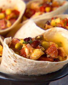 Breakfast Burrito Recipe -- filled with chorizo, egg, cheese, and salsa