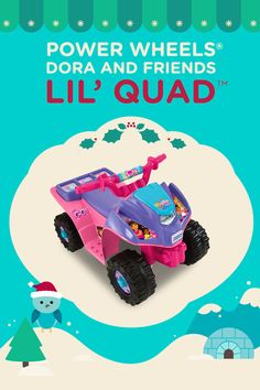 Preschoolers can ride around in style with this Power Wheels Dora and Friends Lil' Quad!