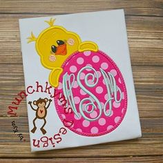 Peeking Girl Chick Egg Applique - 3 Sizes! | What's New | Machine Embroidery Designs | SWAKembroidery.com Munchkyms Design