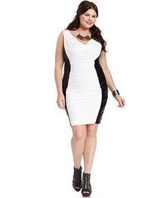 Soprano Plus Size Dress, Sleeveless Ruched Faux Leather - Plus Size Dresses - Plus Sizes - Macy's
