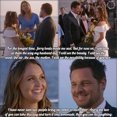 The Karev wedding ceremony on a ferry officiated by Gray. Greys Anatomy Alex, Greys Anatomy Funny, Greys Anatomy Cast, Grey Anatomy Quotes, Alex And Meredith, Meredith Grey, Alex Grey, Grey's Anatomy Season 14, Grey's Anatomy Tv Show