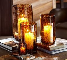 Tortoiseshell Glass Hurricane #potterybarn