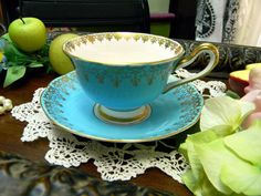 1940s Royal Albert Teacup Tea Cup and Saucer - Wide Mouthed in Azure Blue 9534