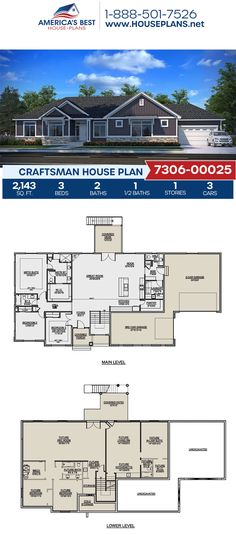 Plan 7306-00025 highlights a Craftsman home design with 2,143 sq. ft., 3 bedrooms, 2.5 bathrooms, an in-law suite, a breakfast nook, a kitchen island, an open floor plan, a media room, a mudroom, and an office. #craftsmanhome #architecture #houseplans #housedesign #homedesign #homedesigns #architecturalplans #newconstruction #floorplans #dreamhome #dreamhouseplans #abhouseplans #besthouseplans #newhome #newhouse #homesweethome #buildingahome #buildahome #residentialplans #residentialhome