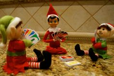 Arthur brought some elf friends over to play Uno, one of Bryce's favorite games! #elfontheshelf Miniature Uno cards can be found at Party City and other similar stores. Michaels, Hobby Lobby - they may have them.