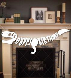 Dinosaur Dino Happy Birthday Banner Fossil Jurassic T-REX Garland -- Party Decoration Supplies