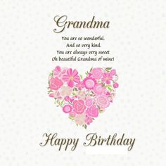 Happy Birthday Grandma status updates for Facebook, Whatsapp, Instagram and other social networks. #happybirthday #grandma #status #birthdaywishes Happy Birthday Grandma Quotes, Birthday In Heaven Quotes, Happy Heavenly Birthday, Happy Birthday Ecard, Birthday Wishes For Friend, Happy Birthday Wishes Cards, Birthday Gifts For Grandma, Birthday Wishes Quotes, Grandmother Birthday