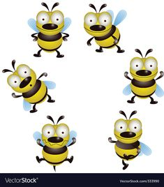 vector bee cartoon collection. Download a Free Preview or High Quality Adobe Illustrator Ai, EPS, PDF and High Resolution JPEG versions.