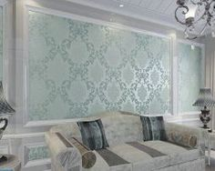 Self Adhesive Classic Glitter Metallic Damask Flocking Non-woven Wallpaper Roll Bedroom TV Color Light Blue (Need Professional Installation,Not Pre-pasted) Glitter Wallpaper Bedroom, Wallpaper Size, Wallpaper Decor, Wallpaper Roll, Luxury Home Decor, Luxury Homes, Tv In Bedroom, Master Bedroom, Wall Stickers Home