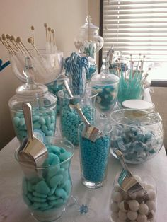My baby shower candy bar. Instead of sending guests home with a gift they didn't want, let them take a goody bag. I used an assortment of glass containers I had around the house.