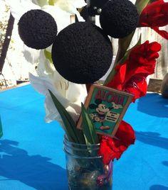 Mickey Mouse luau centerpiece- small mason jar.