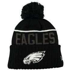 Men s New Era Black Philadelphia Eagles Black   White Sport Cuffed Knit Hat 8e75c0847