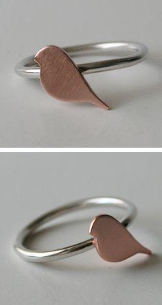Tiny copper bird ring