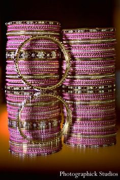 This Indian bride is getting ready for her big day with a pamper session of hair and makeup! Indian Wedding Jewelry, Indian Jewelry, Indian Bangles, Bridal Bangles, Bridal Jewelry, Bangle Set, Bangle Bracelets, Asian Inspired Wedding, Gold Bangles Design