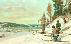 Julekort Kunstnerkort Axel Ender brukt 1914 Utg Abels forlag