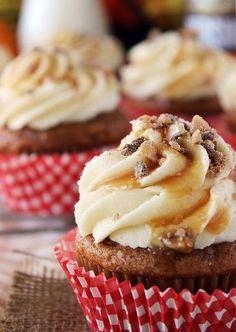 Pumpkin cupcakes with caramel cream cheese