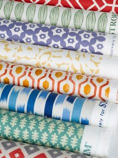Stroheim's Small Prints collection. Featured fabrics (from top): Vega – Heather, Mathilda – Goldenrod, Radley – Spice, Delilah – Peacock, Edie – Jade and Risha – Spice. Visit your nearest Ring's End design and decor showroom for more information! #Stroheim #Fabric #Patterns #RingsEnd