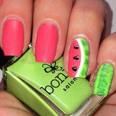 Watermelon nails using Bonita nail polish. Design by @melcime on Instagram