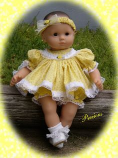 """I call this one """"Precious"""". Made for Bitty Baby in cotton, yellow rosebud print."""