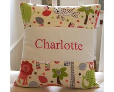 'Jungle Animal Name Cushion' perfect for a little girl who loves animals!