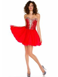 A-line Sweetheart Sleeveless Short/Mini Tulle Unique Homecoming Dresses/Red Prom Dresses #FD016