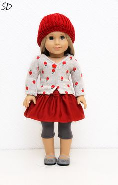 A is for Apple: Cardigan, skirt and hat set for American girl.