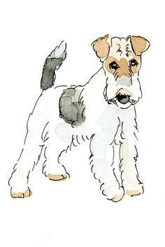 Wire fox terrier  Illustrated flat note card by MerryLadybug - Dogs