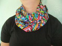 Infinity Scarf - Loop Scarf - Circle Scarf - Rainbow color crayon - Cotton - teacher apparel - teacher appreciation