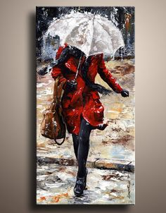 City Life Canvas Art PRINT of My Figure Acrylic Painting by itarts, $65.00