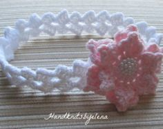 Crochet Pattern #156 Baby Headband with a Pink Rose in sizes 0-3, 3-6, 6-12 Months