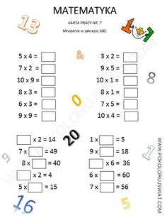Mnożenie w zakresie 100, karty pracy,karty pracy ucznia Learning Time, Kids Learning Activities, Math 2, Learning Numbers, Math Worksheets, Preschool, Student, Lettering, Teaching